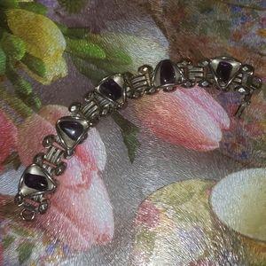 Book Link Metal Purple Amethyst Bracelet